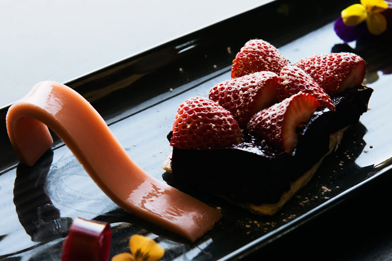 Fresh strawberry tart with blackvurrant cremeux